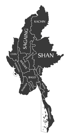 labelled: Myanmar Map labelled black illustration