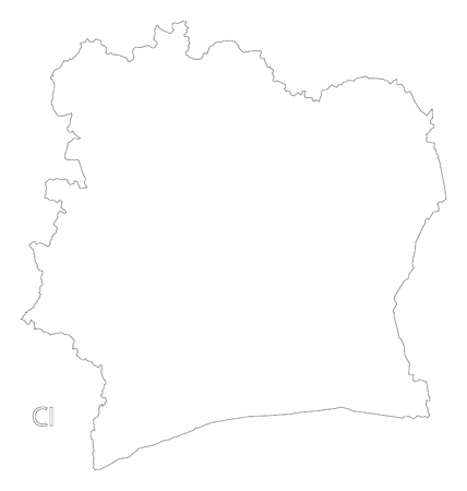 L'illustration de la carte de la silhouette de la silhouette de la Côte d'Ivoire. Banque d'images - 75898720
