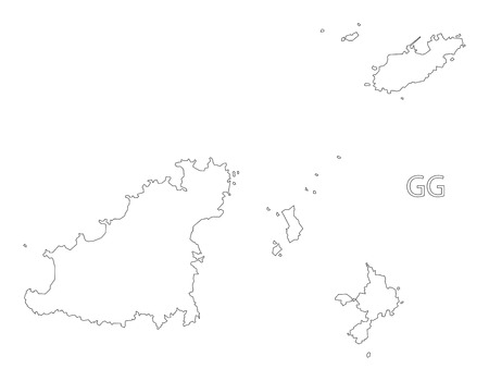 guernsey: Guernsey outline silhouette map illustration.