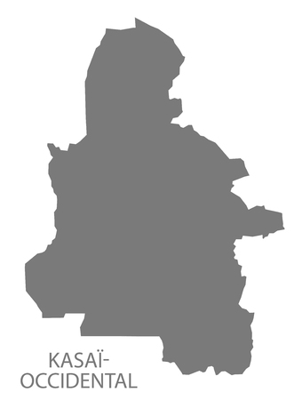 Kasai-Occidental province map Congo Democratic Republic grey illustration silhouette