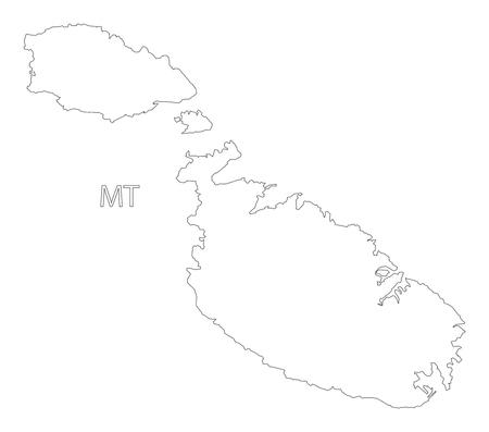 malta cities: Malta outline silhouette map illustration