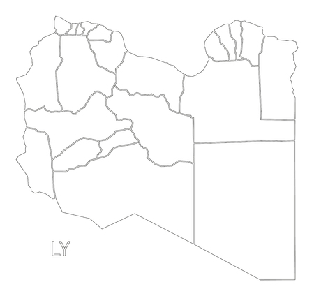 libya: Libya outline silhouette map illustration with districts