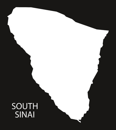inverted: South Sinai Egypt map black inverted silhouette illustration