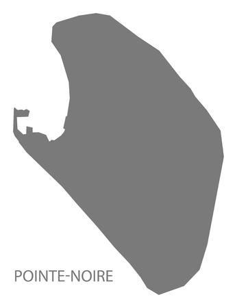 noire: Pointe-Noire province of Congo Republic map grey illustration silhouette