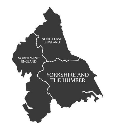 yorkshire and humber: North East and North West England - Yorkshire and the Humber Map UK illustration