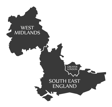 new england: West Midlands - Greater London - South East England Map UK illustration