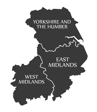 yorkshire and humber: Yorkshire and the humber - East Midlands - West Midlands Map UK illustration Illustration