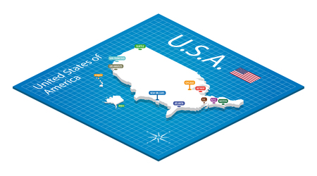 new orleans: Isometric map of the USA - 3D Vector Illustration