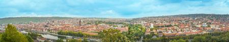 Panoramic view to the city of Wurzburg, Franconia, Bavaria, Germany