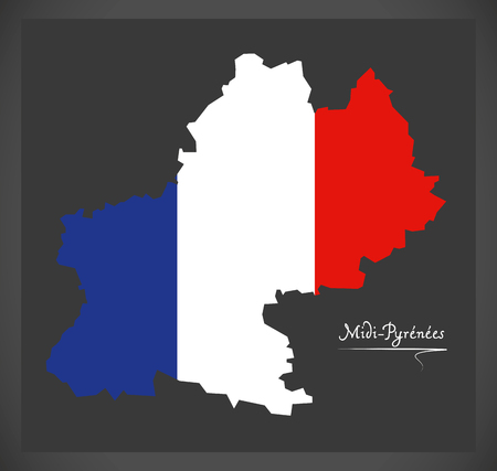Midi-Pyrenees map with French national flag illustration