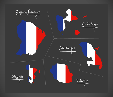 mayotte: French overseas departments map with French national flag illustration