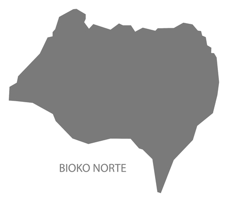 Bioko Norte Equatorial Guinea map grey illustration silhouette