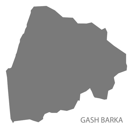 Gash Barka Eritrea map grey illustration silhouette Illustration