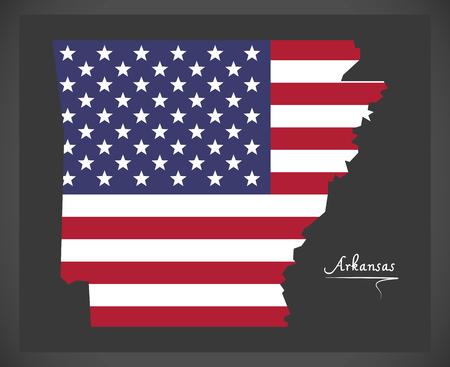 Arkansas map with American national flag illustration Illustration