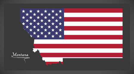 Montana map with American national flag illustration