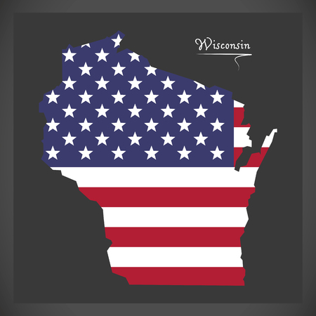 Wisconsin map with American national flag illustration
