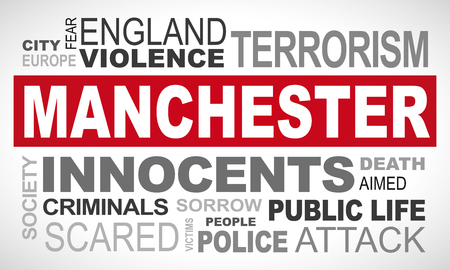Manchester terror attack - word cloud illustration english