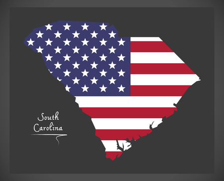 South Carolina map with American national flag illustration