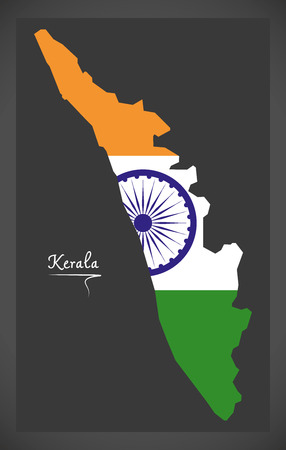 Kerala map with Indian national flag illustration