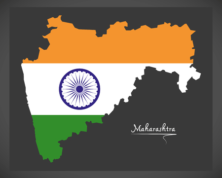 Maharashtra map with Indian national flag illustration