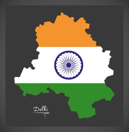 Delhi map with Indian national flag illustration.