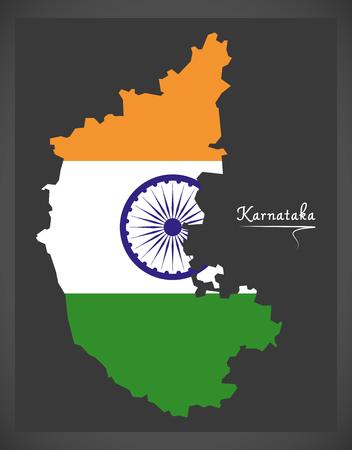 Karnataka map with Indian national flag illustration