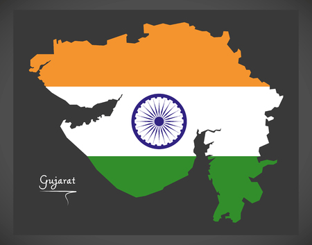 Gujarat map with Indian national flag illustration Illustration