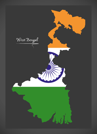 bengal: West Bengal map with Indian national flag illustration
