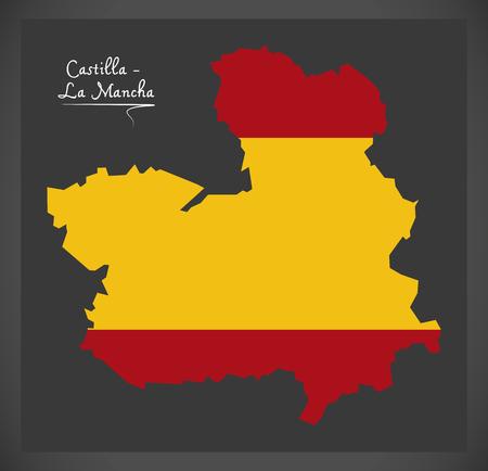 Castilla - La Mancha map with Spanish national flag illustration Ilustração