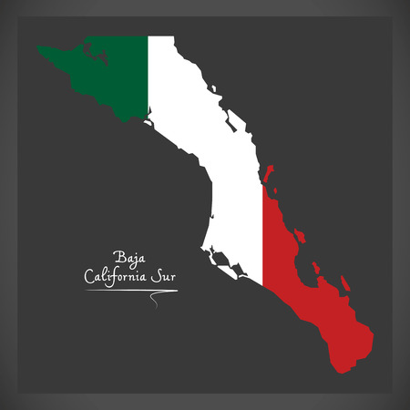 Baja California Sur map with Mexican national flag illustration