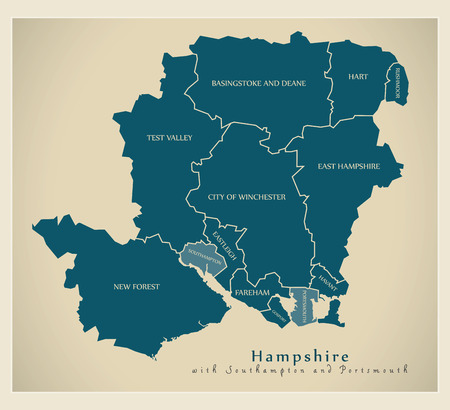 Modern Map - Hampshire county wit labels including Southampton and Portsmouth UK illustration