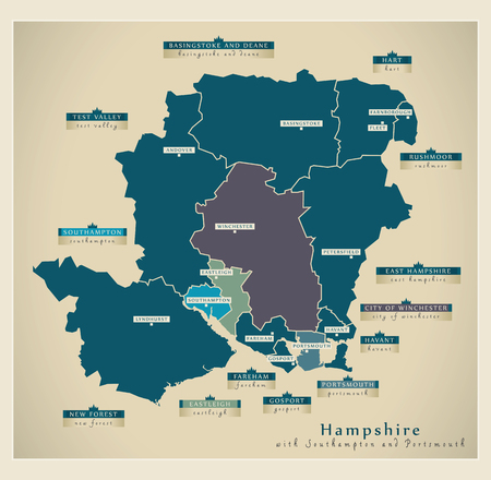 Modern Map - Hampshire county with details including Southampton and Portsmouth UK illustration Illustration