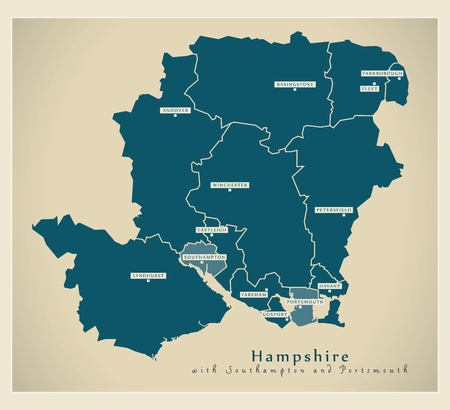 Modern Map - Hampshire county wit districts including Southampton and Portsmouth UK illustration
