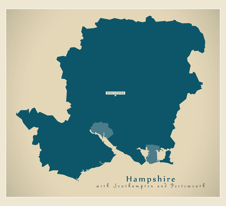 Modern Map - Hampshire county including Southampton and Portsmouth UK illustration