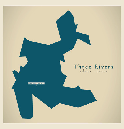 new england: Modern Map - Three Rivers district UK illustration