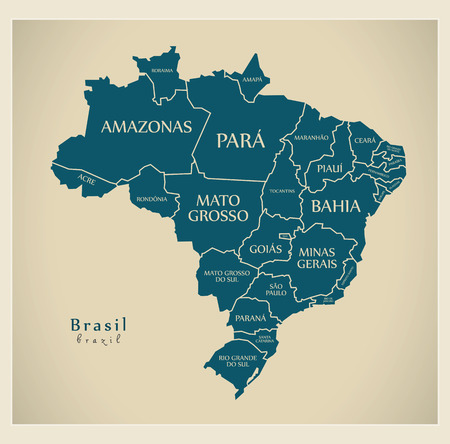 Modern Map - Brazil with districts and labels BR