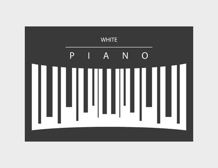 White piano logo illustration hand drawn Ilustracja