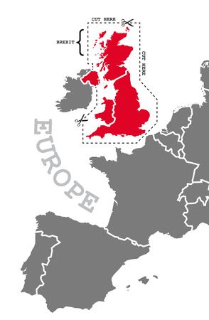 Brexit illustration map in grey red with cut out line around highlighted britain Stock Photo