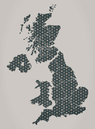 new england: United Kingdom map with stars and ornaments including country borders