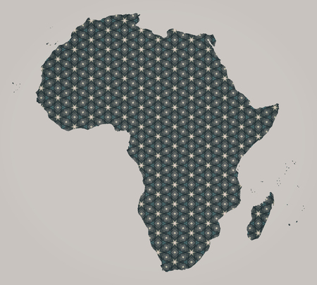 geographical: Africa continent map with stars and ornaments