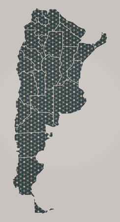 geographical: Argentina map with stars and ornaments including borders Stock Photo