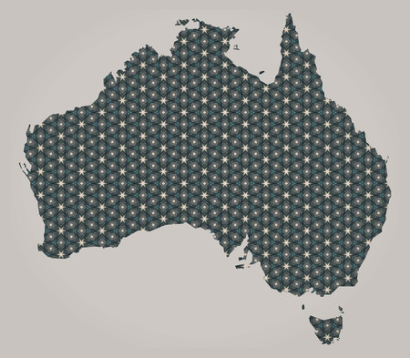 Australia map with stars and ornaments