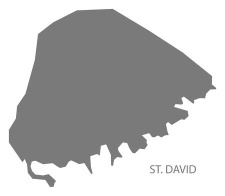 provinces: St. David map grey illustration silhouette