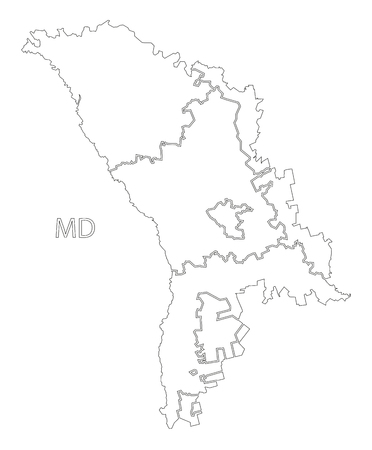 Moldova districts outline silhouette map illustration with black shape Stock Vector - 80632347
