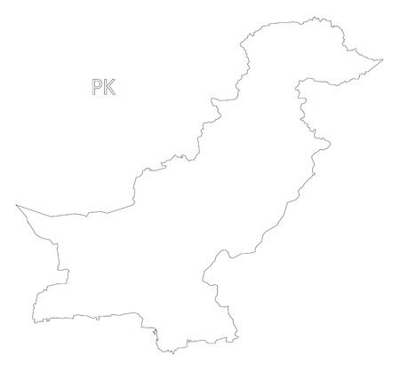 provinces: Pakistan outline silhouette map illustration with black shape
