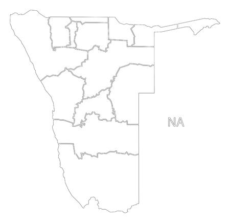 De gebieden van Namibië schetsen de illustratie van de silhouetkaart met zwarte vorm