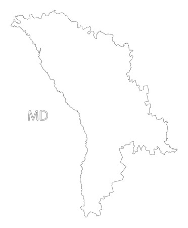 Ilustración de mapa de silueta de contorno de Moldavia con forma negra Ilustración de vector