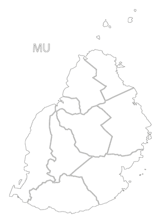 Outline Map Of Mauritius. Area Detail Color Outline With Outline Map ...