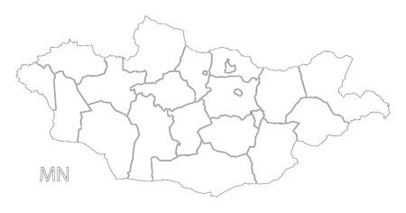 Mongolia provinces outline silhouette map illustration with black shape
