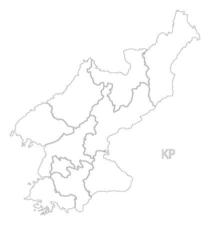 provinces: North Korea provinces outline silhouette map illustration with black shape Illustration